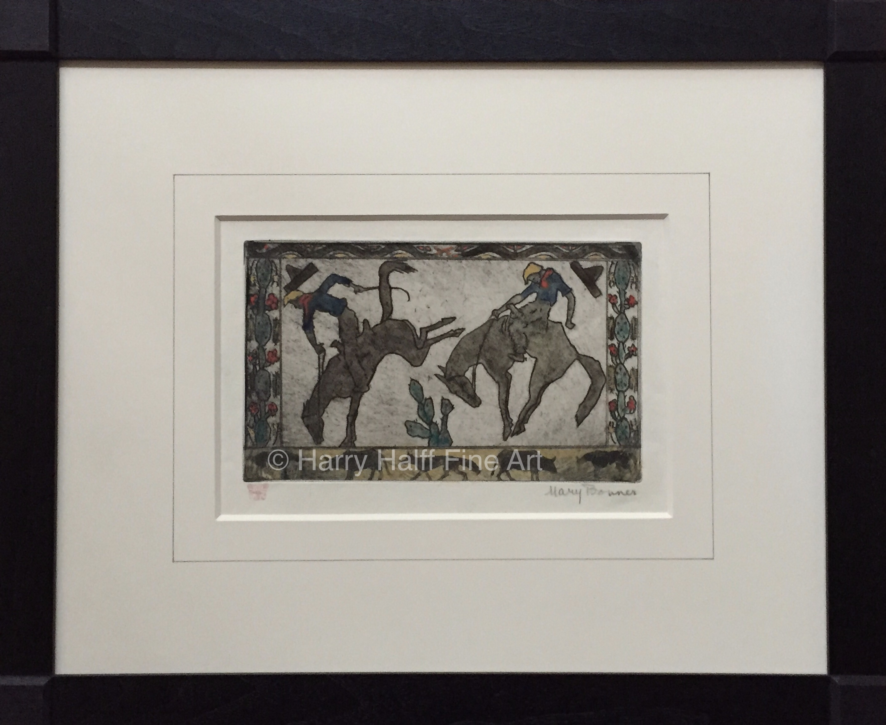 Bucking Bronco etched and hand-colored by Mary Bonner