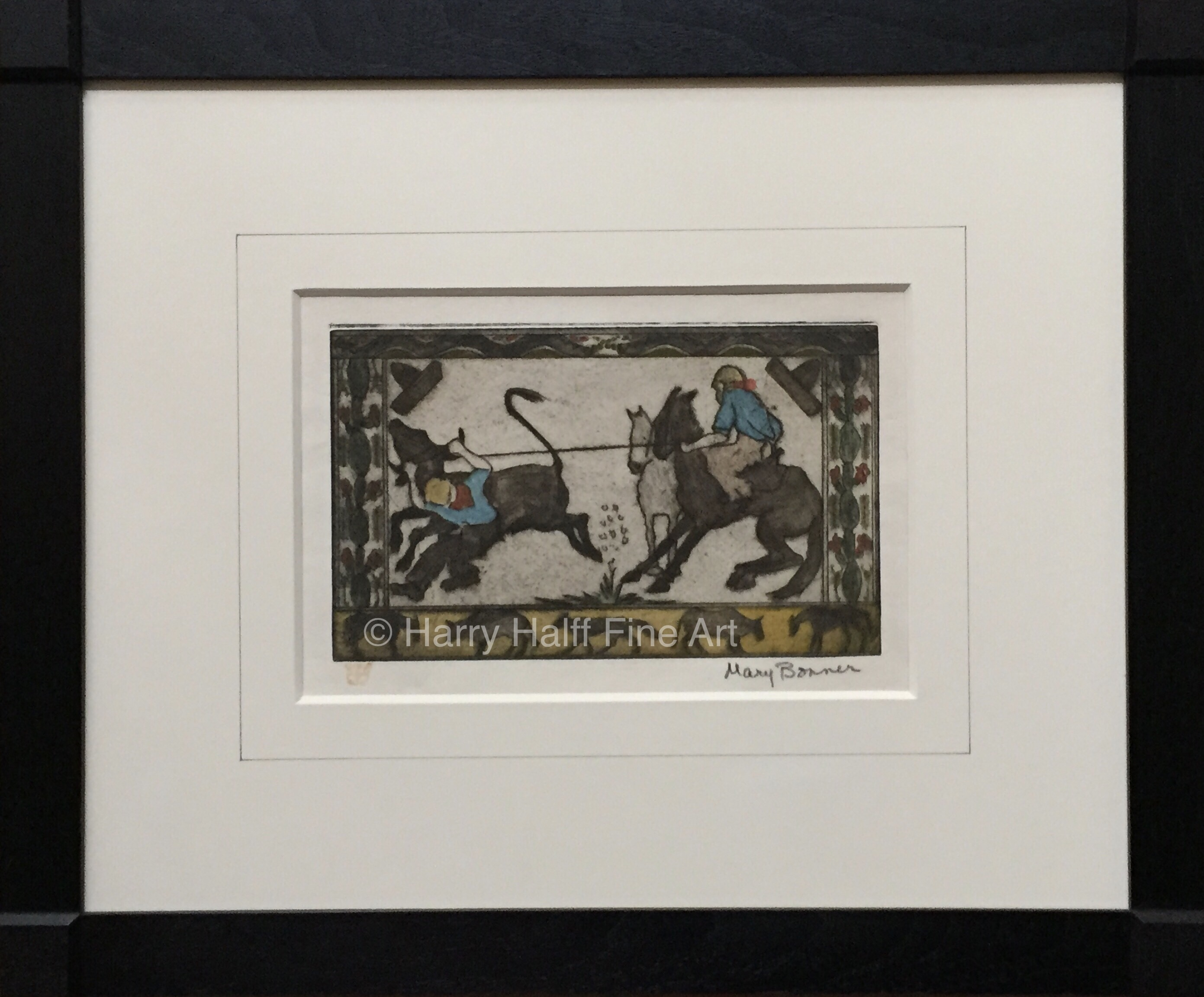 "Buy Mary Bonner's etched and hand-colored piece titled ""Calf Roping"" that is signed in the lower right hand corner."