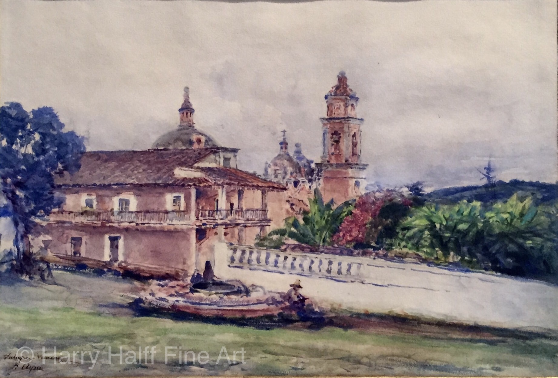 Jose Arpa's watercolor on paper painting of Jalapa-Veracruz