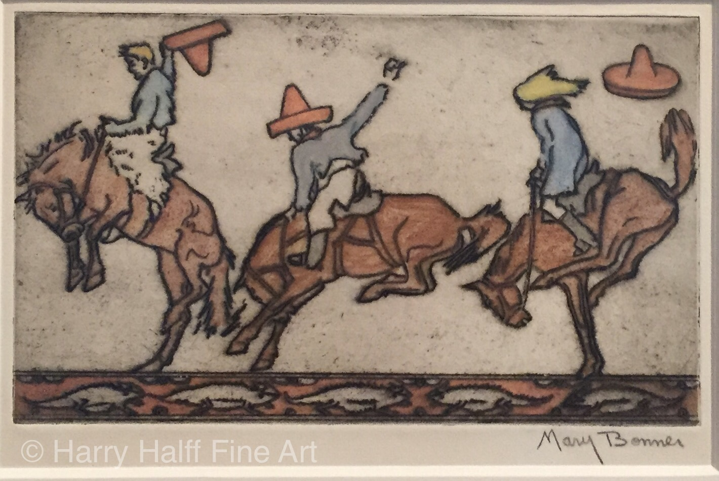 Mary Bonner handcolored etching titled Three Bucking Broncos